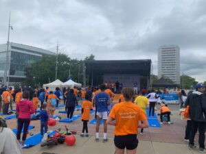 Walk the Talk participants take part in a yoga session.